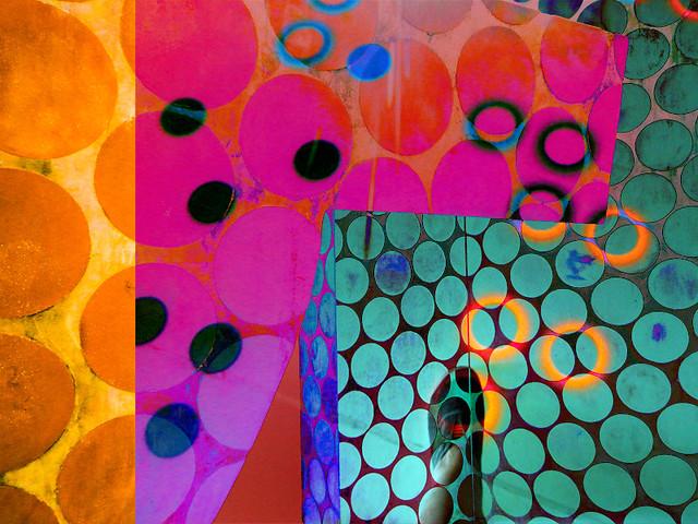 Polka dot modern sculpture from Bilbao, Spain, overlaid in Photoshop