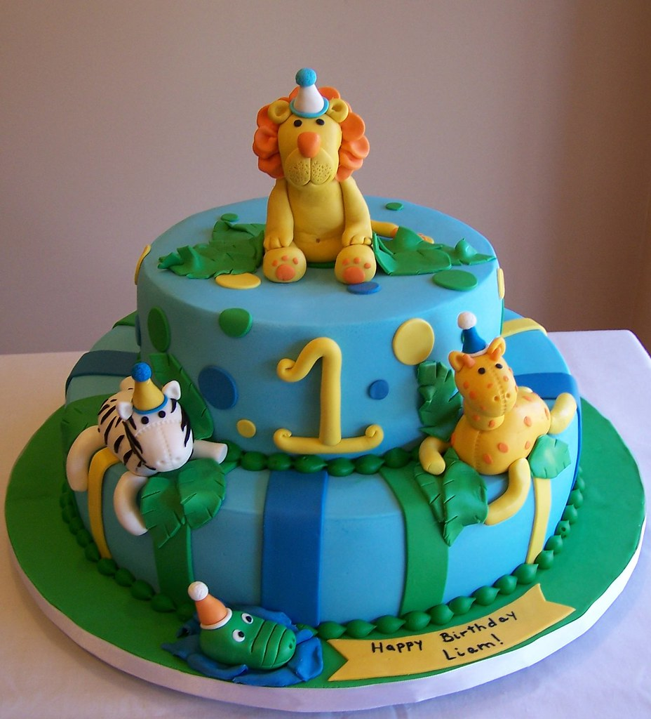 Sensational Jungle Animals First Birthday Cake This Is Not My Design Flickr Personalised Birthday Cards Beptaeletsinfo