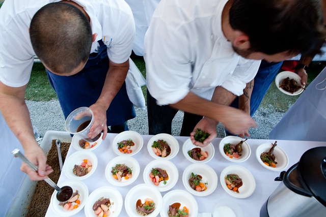 Arial view of the chefs plating at Aziza