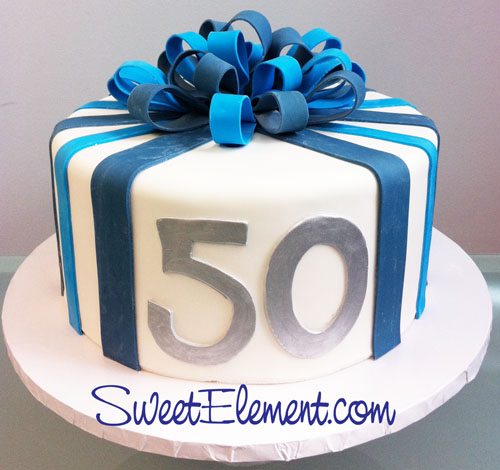 Magnificent Blue Stripe 50Th Birthday Cake With Bow Sweetelement C Personalised Birthday Cards Epsylily Jamesorg