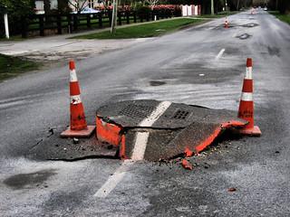Earthquake damage - road