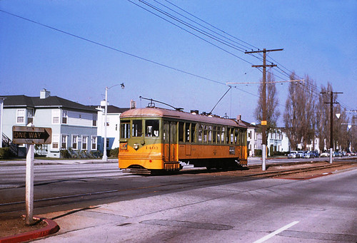 001 - LATL 5 Line Car 1403 Southbound On Leimert At Stocker 19541120 | by Metro Transportation Library and Archive
