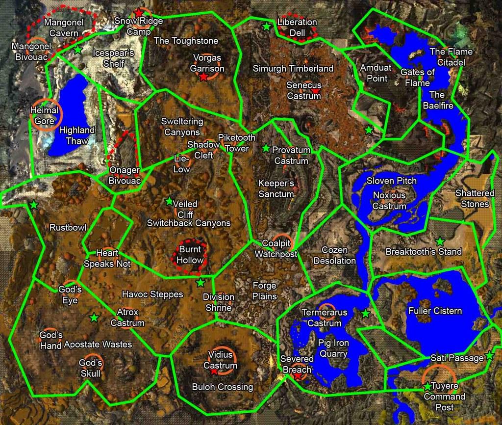Gw2 Karte.Guild Wars 2 Karte Karte Aus Dem Mmo Guild Wars 2 Mit Mark