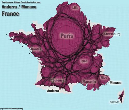 Andorra / France / Monaco Population Cartogram   by Worldmapper.org
