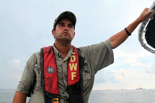 Jerod Galloway, LDWF during media tour at BP oil spill response