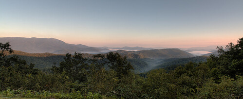 panorama fog sunrise view pano stitching stitched hdr blueridgeparkway brp longrange davidhopkinsphotography