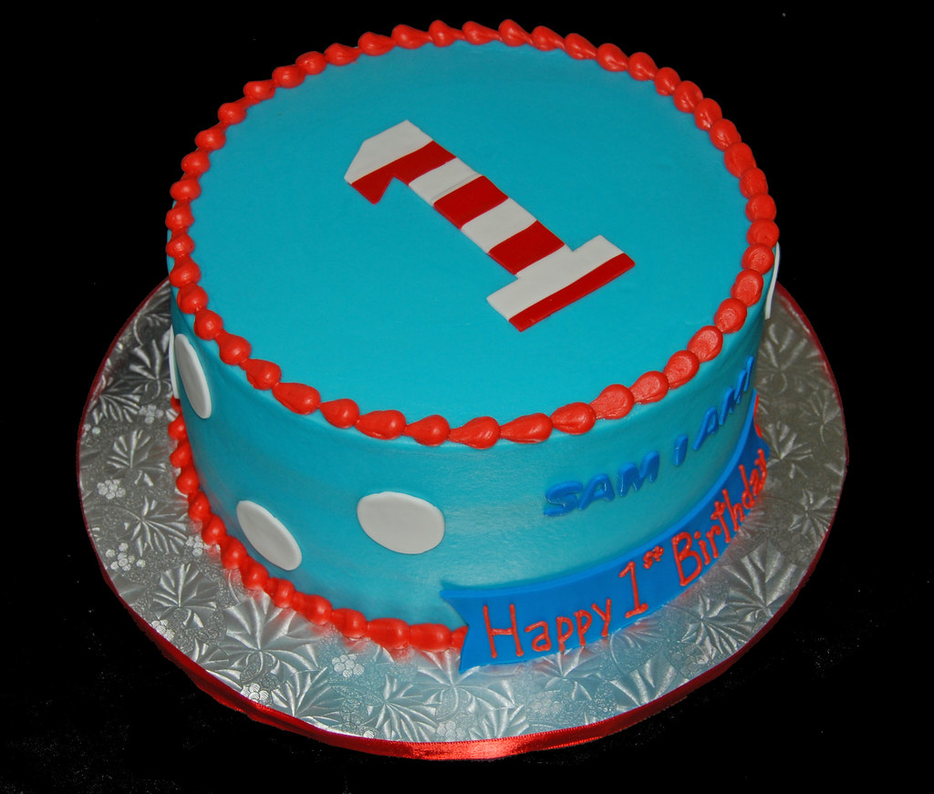 Fantastic Blue And Red First Birthday Cake For A Dr Seuss Themed Cel Flickr Funny Birthday Cards Online Aeocydamsfinfo