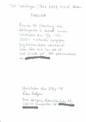 Dan Wolgers faktura från 1998 | by johaneje