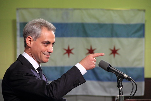 Rahm Emanuel, Pointing, With Chicago Flag in Background   by danxoneil