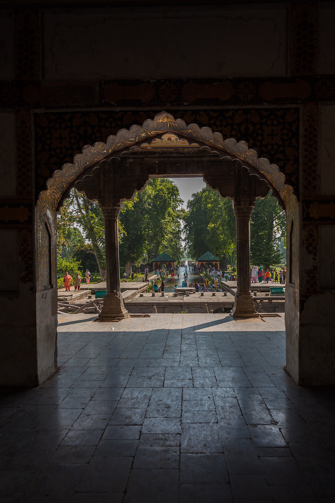 The marble pavilion at Shalimar Bagh, a Mughal garden in Srinagar, Kashmir, India