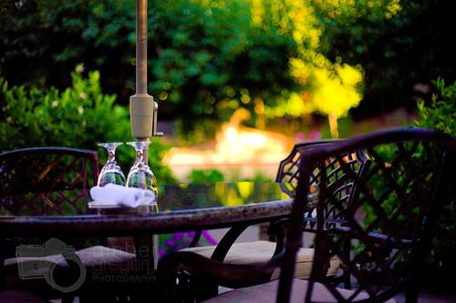 california light sunset vacation reflection sunshine table restaurant glasses bokeh canon5d sebastopol laborday goldenhour 50mmf14 2010 frenchgardenrestaurant ambergregorypresets bright3presettweaked