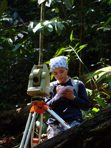 Wed, 11/04/2009 - 10:31 - Research Assistant, Siti Norasyidah, recording data from total station. Credit: Min Sheng Khoo