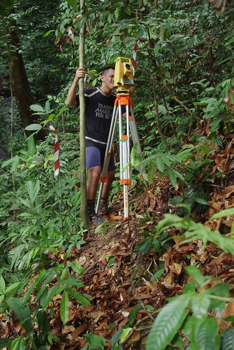 Thu, 04/29/2010 - 09:52 - Research assistant, Kadir Hanafi, sighting with total station. Credit: Min Sheng Khoo