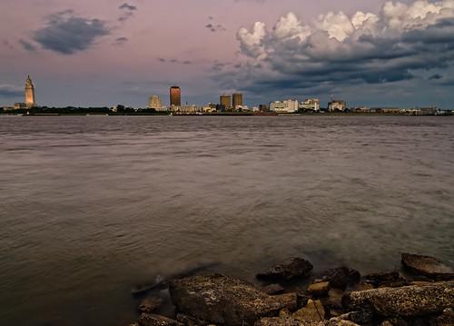 city sunset storm water skyline clouds port buildings river mississippi rouge nikon louisiana rocks downtown allen state dusk ominous capitol d200 nikkor current f28 baton 80200mm