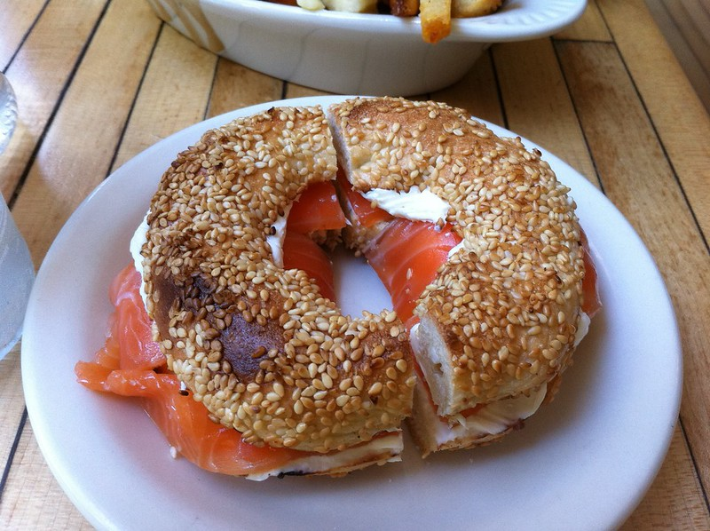 Bagel with lox from Mile End Deli