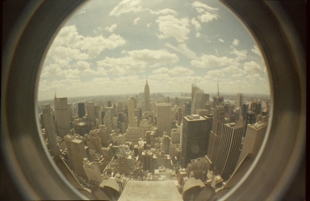 a fisheye view of manhattan from the rockefeller building