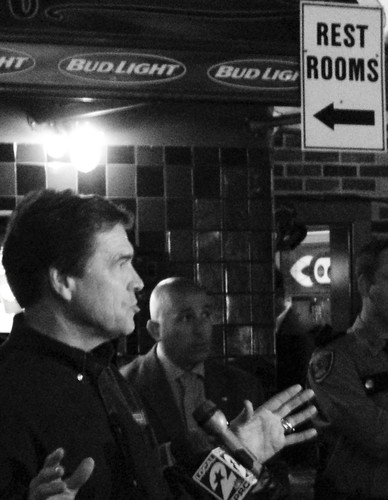 governor rickperry campaignstop republican teaparty skeeters mesquite grill kingwood conservative texas harriscounty houston candid blackandwhite blackwhite bw availablelight secession politics political election statesrights secessionist debates gop primary illegal immigration socialsecurity ponzischeme united states north america