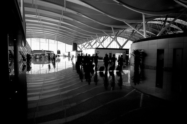 Wavy Roof of T2 at Pudong in B&W