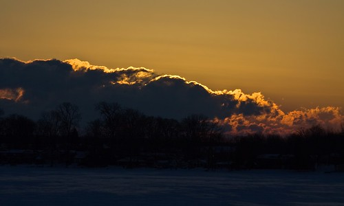 winter sky snow cold ice clouds sunrise golden michigan windy