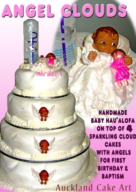 Fine Angel Clouds Baptism Birthday Cake Shimmering 4 Layer Cl Flickr Funny Birthday Cards Online Elaedamsfinfo
