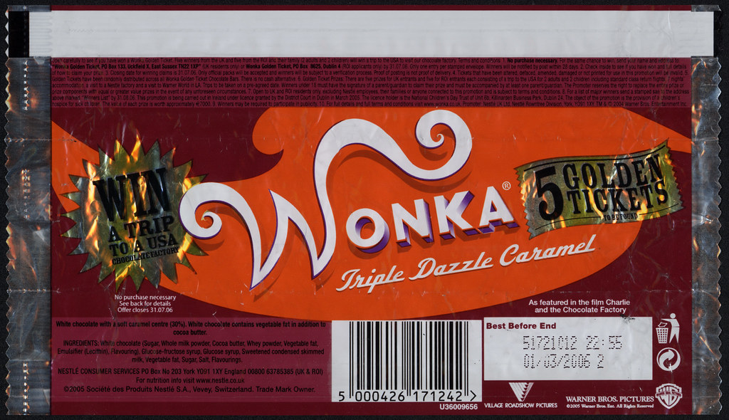 Uk Nestle Wonka Triple Dazzle Caramel Candy Bar Wrap