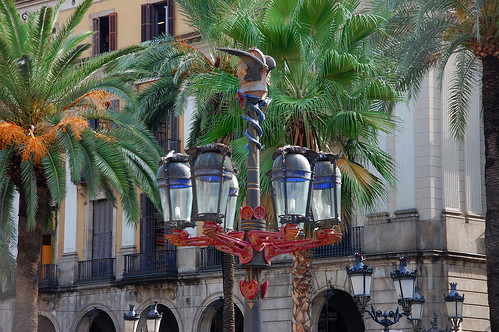 Gaudi lanterns on Plaça Reial, Barcelona | by Peter Q