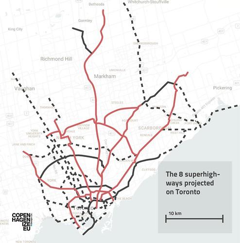 Copenhagen Bicycle Superhighways projected on Toronto | by Mikael Colville-Andersen