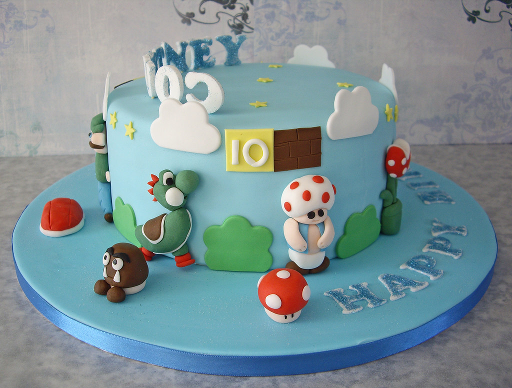 Surprising Courtneys Super Mario Birthday Cake I Was Given A Link To Flickr Funny Birthday Cards Online Kookostrdamsfinfo