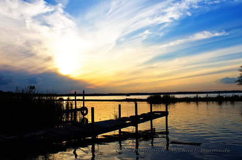 sunset clouds marina dock peaceful bluesky chainolakes grasslake