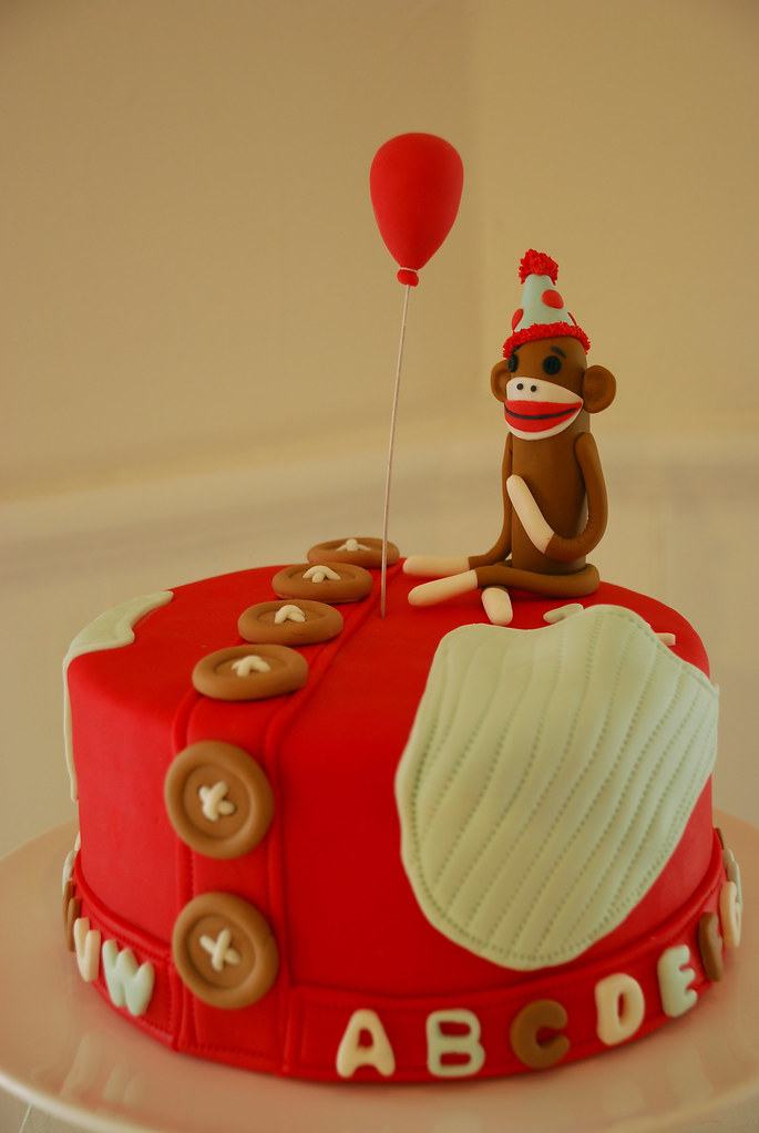 Astonishing Sock Monkey Birthday Cake This Was A Sock Monkey Cake For Flickr Funny Birthday Cards Online Barepcheapnameinfo