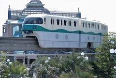 Disney Resort Line Green Train Arriving at Tokyo Disneyland Station