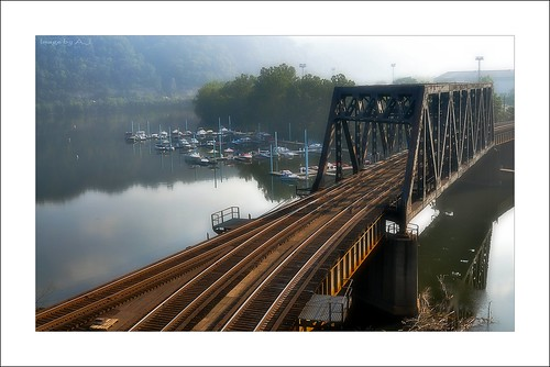 railroad morning bridge water fog marina train sunrise river boats pittsburgh pennsylvania peaceful tranquility rail calm pa serenity serene mon through tranquil confluence monongahela youghiogheny mckeesport truss yough lptracks