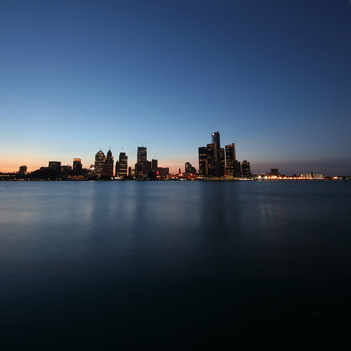detroit michigan city motown skyline horizon cityscape sunset river square blue purple orange rich indigo night dusk windsor ontario canada lepiafgeo blau plavo architecture urban manmade built