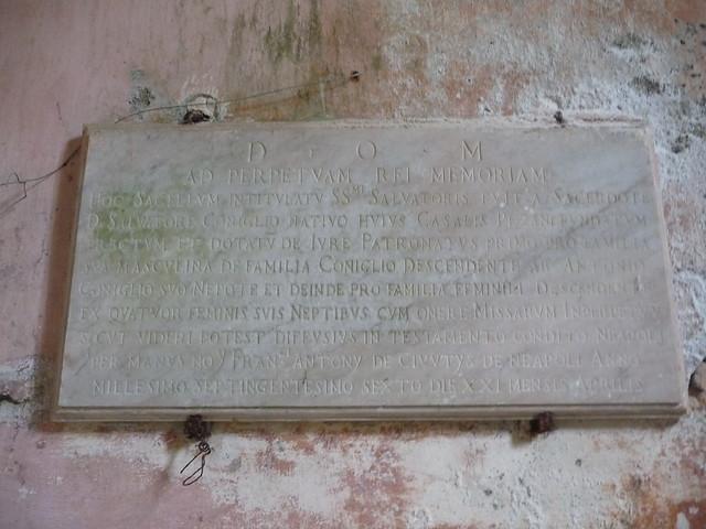Insegna della  Chiesa vecchia nata nel 1706 a Pazzano