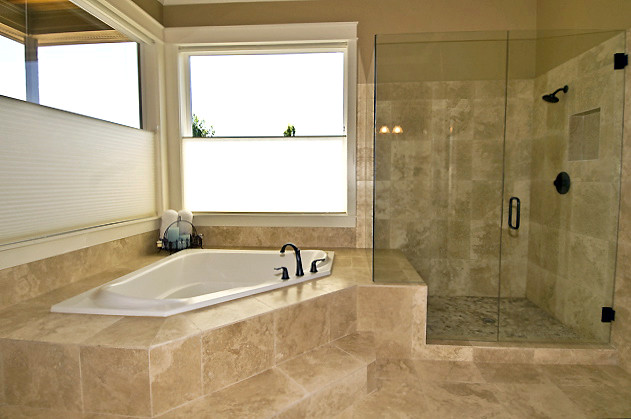 . Travertine Bath and Glass Shower   Travertine tile and glass    Flickr