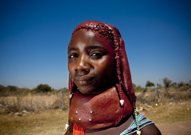 Mwila tribe girl with necklace, Angola