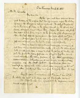 Letter from Julius Eckman to Solomon Nunes Carvalho About Jewish Life in Gold Rush San Francisco (1855)