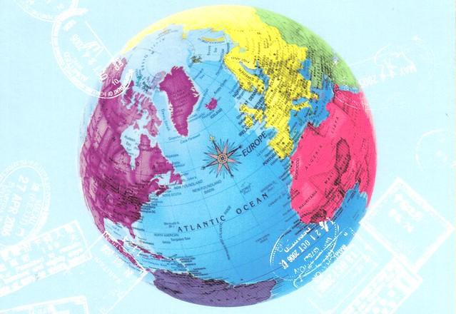 Globe world map postcard