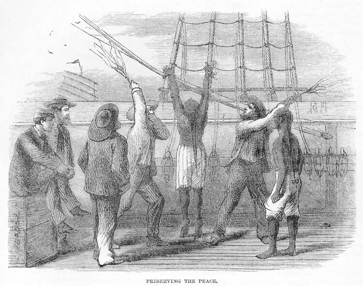 """Chinese indentured servant (""""Coolie"""") being whipped aboard ..."""