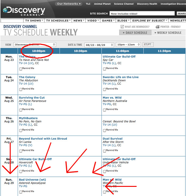 Bad Universe on Discovery Channel schedule! | My TV show, Ba