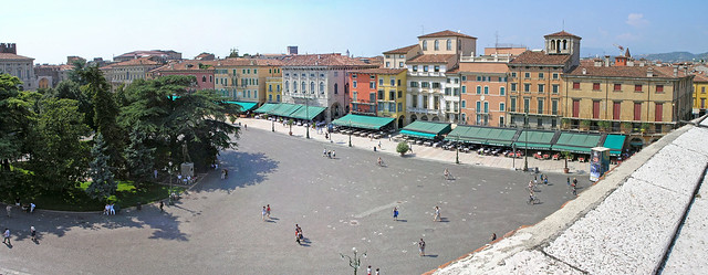 Verona - panoramic view to the Piazza Brá from the Arena