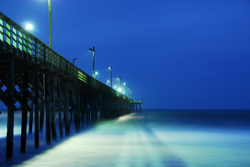 ocean longexposure morning blue sea beach northcarolina topsailbeach 532am bitzcelt seaviewpier