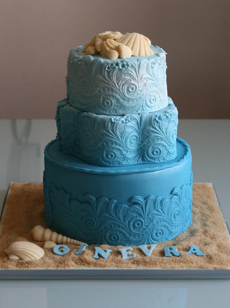 Fabulous Beach Birthday Beach Themed Birthday Cake Bottom Tier Da Flickr Funny Birthday Cards Online Overcheapnameinfo