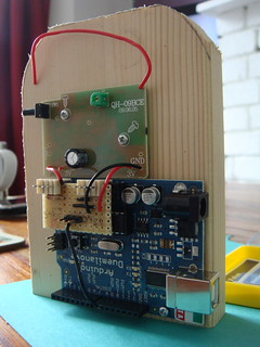 Arduino and doorbell mounted on wood block | by lilspikey