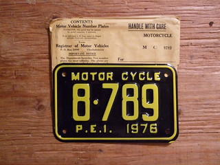 PRINCE EDWARD ISLAND 1976 ---MOTORCYCLE PLATE...MINT