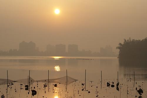 lake building fog sunrise landscapes lotus taiwan kaohsiung kaohsiungcounty chungcinglake