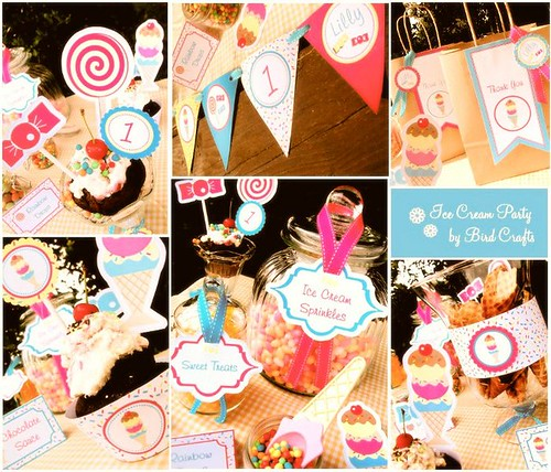 vintage ice cream and candy party paper goods printable supplies