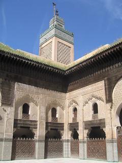Minaret and a decorative corner of the Bou Inania Madrasa, Fez medina | by Mary Loosemore