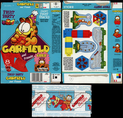 General Mills - Garfield and Friends Fruit Party chewy fruit snacks box and wrapper - 1991 | by JasonLiebig