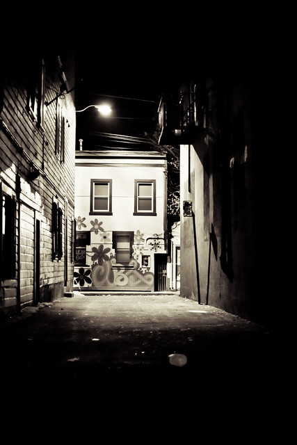 Down the alleyway.